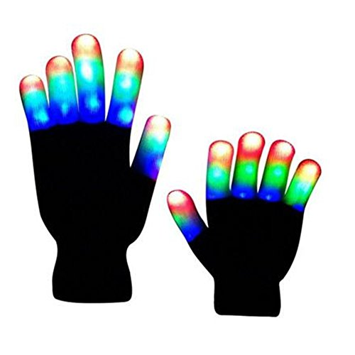 [Flashing Colorful LED Light Up Show Gloves, Novelty Christmas Gift (Kids, Whole Fingers)] (Light Up Costumes For Adults)