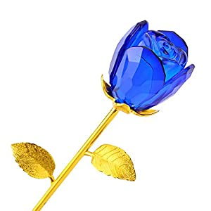 Wal front Crystal Glass Rose, Romantic Gold Dipped Rose 24K Gold Plated Long Stem Artificial Rose Flower in Wooden Box Birthday Valentines Gift (Bud-Blue) 119