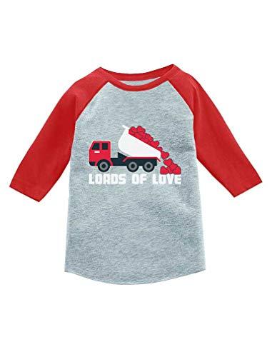 Mother's Day Dump Truck Loads of Love 3/4 Sleeve Baseball Jersey Toddler Shirt 5/6 Red