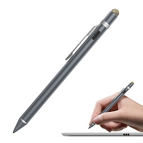 MoKo Universal Active Stylus Pen, Capacitive Fine Point Touch Screen Tablets Stylus Pencil Fit with Apple iPad, iPad Mini/Air/Pro, iPhone, Samsung Galaxy, Touchscreen Devices & Smartphones, Space Gray