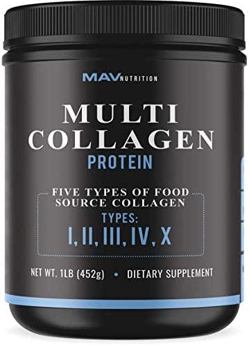 Multi-Collagen Protein Powder, High-Quality Blend of Grass-Fed Beef, Chicken, Fish and Eggshell Peptides Formularized to Aid in Digestion and Support Joints; Unflavored; 100% All-Natural, NON-GMO