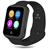 TUFEN Smart Watch, Bluetooth Notifier Smartwatch Touch Screen Wrist Watches Support Micro SIM & TF / SD Card, Heart Rate Monitor, Pedometer and Camera for Android IOS Phone - Black