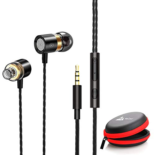 WeCool Mr.Bass W004 in-Ear Wired Earphones with Mic,Deep Bass HD Sound Mobile Headset with Noise Cancellation,Mobile Phone headsets,Ear Phone with mic and Free Carry Case (Black)