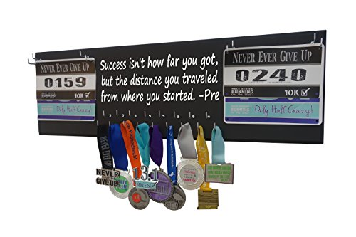 Running On The Wall Medal Hanger Display Race Bibs Success Isn't How FAR You GOT, BUT The Distance You Traveled from Where You Started Double Race Bib - Double Bib