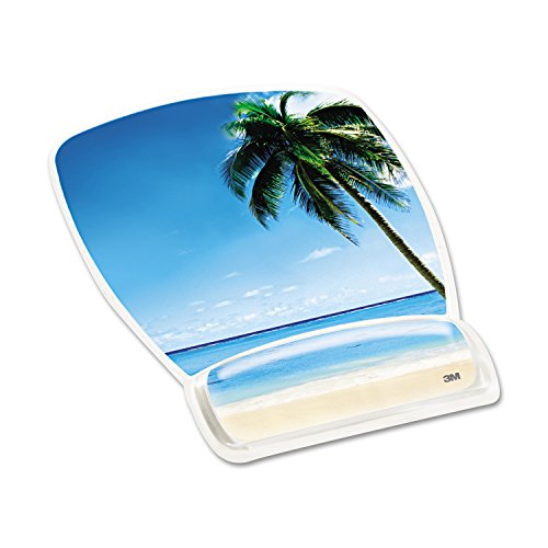 3M Precise Mouse Pad with Gel Wrist Rest, Soothing Gel Comfort with Durable, Easy to Clean Cover, Optical Mouse Performance, Fun Beach Design (MW308BH) 3m Fun Design
