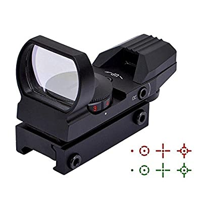 Ohuhu Red Dot Sight, 4 Reticles Red Green Dot Gun Sight Scope Reflex Sights, Black/Sand