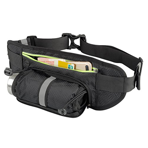 Price comparison product image VORCOOL Unisex Fanny Pack Waist Pack with Water Bottle Holder Waterproof Running Belt Reflective Hydration Belt for Running Hiking Travelling Black