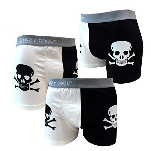 Crazy Cool Cotton Boxer Briefs Underwear for Men 3-Pack, Skull, Dots, Plain (Large, Skull) (Glow In The Dark Mens Boxer Briefs)
