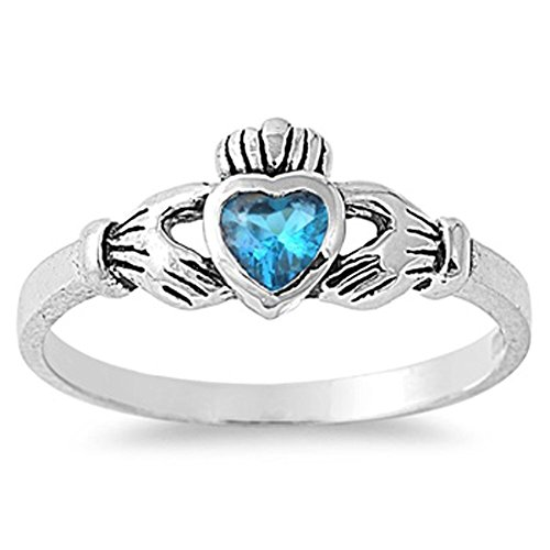 (Sterling Silver Claddagh Ring Blue Simulated Topaz Traditional Irish Band Size 5)