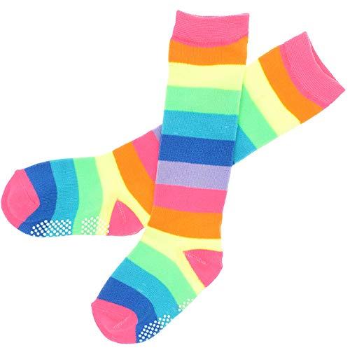 Angelina NEON Rainbow Striped Knee High Socks w/Non-Skid Bottom #2540A_4-6]()