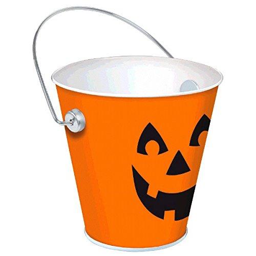 Happy Halloween Jack‑O‑Lantern Bucket Party Favour, Metal, 4