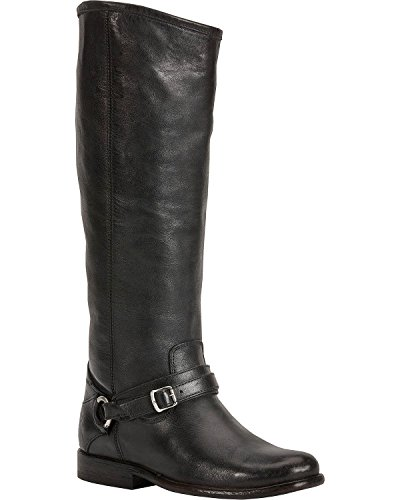 Frye Women's Phillip Ring Tall Black Polished Stonewash Boot 6 B (M) - Frye Phillip Tall Riding Boot