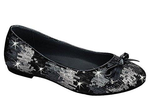 Valeria-12 Mujeres Ballet Flats Zapatos Black
