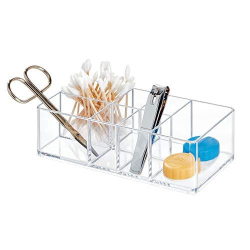 iDesign Caja botiquin para el bano o el armario, pequena caja para medicinas de plastico con 7 compartimentos, organizador de medicamentos facil de limpiar, transparente