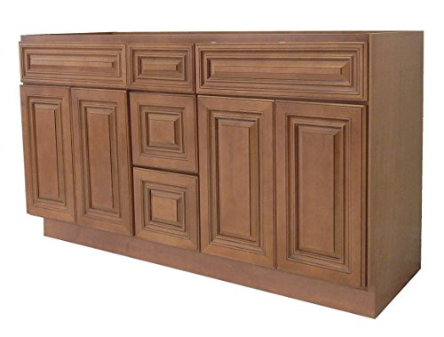 NGY Coffee Glaze Vanity Cabinet Maple Wood COG-6021DD, 60