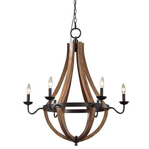 Wine Barrel Rustic Chandelier Centerpiece for Foyers and Dining Rooms with High Ceilings | Modern Farmhouse Light Fixture in Oil Rubbed Bronze Finish | Round Wood Pendant Lamp Creates Ample Lighting - Farmhouse Story