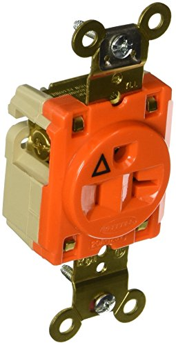 Hubbell Wiring Systems IG5361 SpikeShield HBL Extra Heavy Duty Specification Grade Straight Blade Isolated Ground Single Receptacle, 125V, 20A, 1 HP, 2-Pole, 3-Wire, Orange