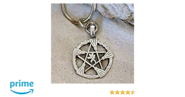 Pentagram Sun and Moon Wicca Pagan Witch Bag Double key ring charm gift boxed