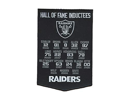 Oakland Raiders Hall of Fame Banner Iron ON Patch 4 3/4 X 7 INCH