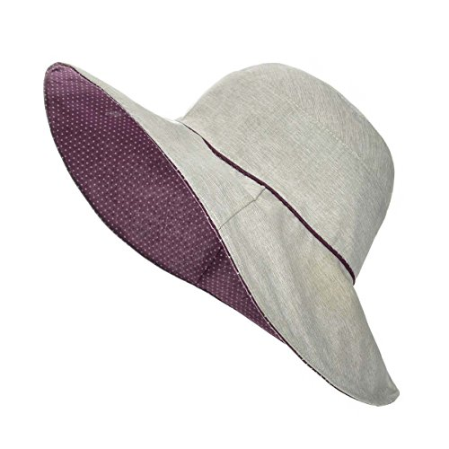 VOBOOM Women Reversible UPF50+ Linen/Cotton Summer Sunhat Bucket Packable Hats (Dark Purple) (Reversible Hat)