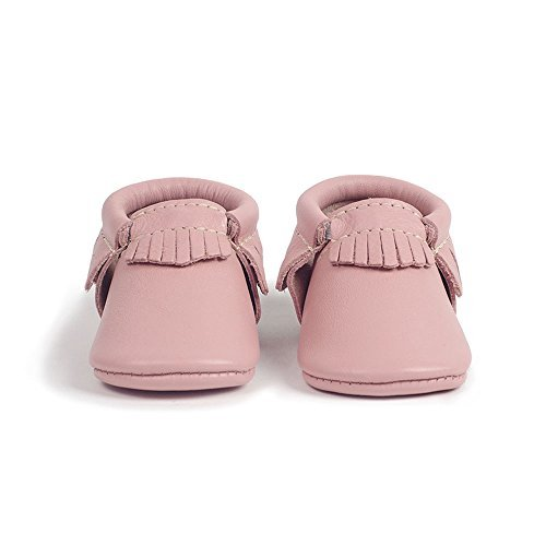 Freshly Picked Soft Sole Leather Baby Moccasins - Blush - Size 7 by Freshly Picked