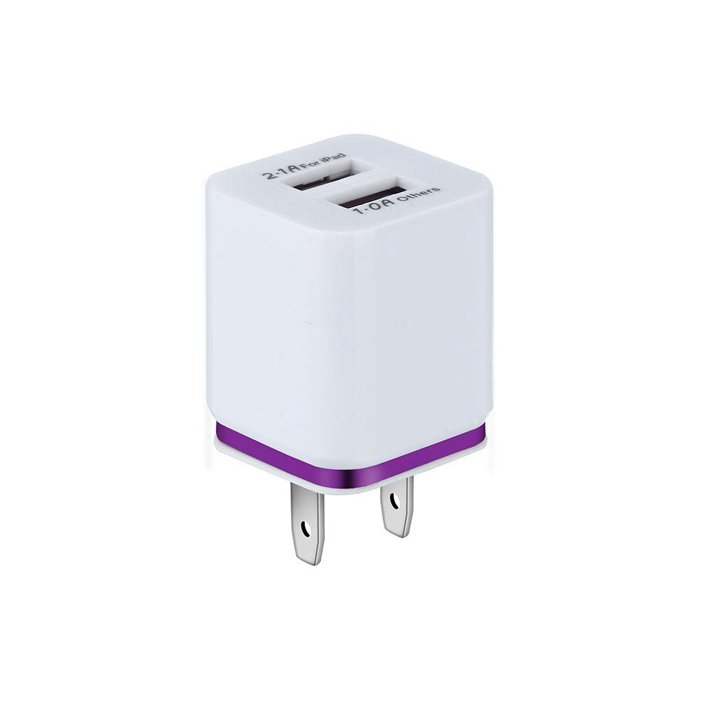 Livoty Dual USB Charger 5V / 2A Fast Charging for iPhone Xs Max Tablet Universal Mobile Phone Wall Adapter US Plug (Purple)