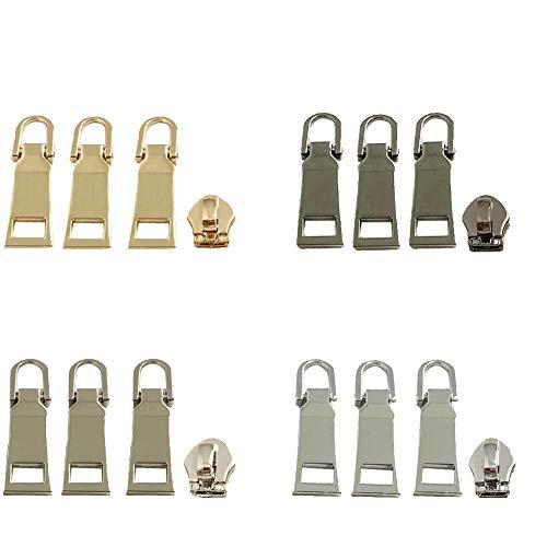 16pcs Metal Zipper Pulls Zipper Repair Parts Fixer Replacement for Clothts,Luggage,Backpack,Handbag,Bag (#5,4 Color)