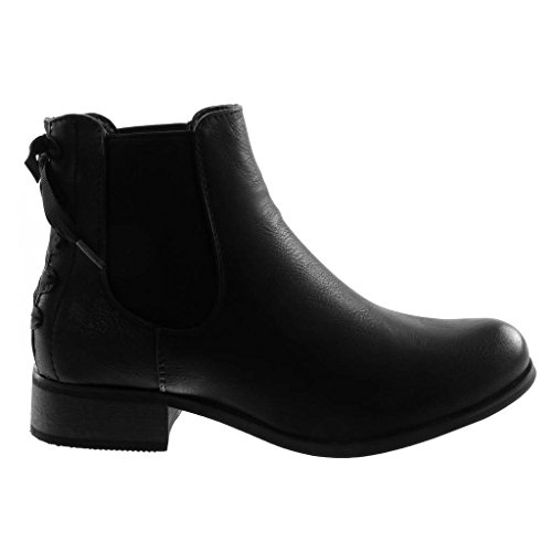 Boots Bottine Chelsea Mode Chaussure Int Noeud Lacets Angkorly Femme Talon 3 Bloc cm wCfAqEI