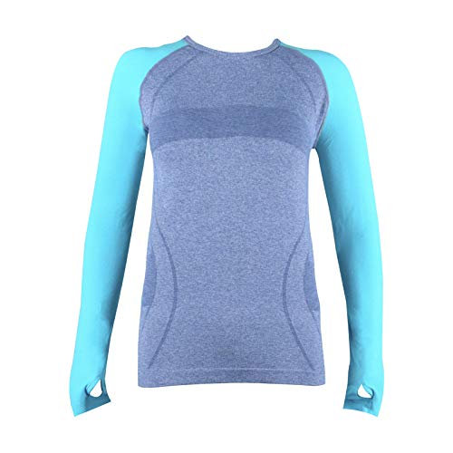 (B.BANG Women's Running Athletic Wear Long Sleeve Yoga Seamless Sports Shirts with Thumb-Hole(Green M))