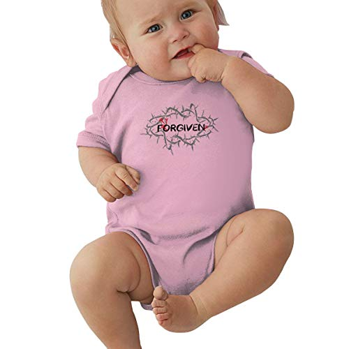 Jesus Christ Forgiven Crown of Thorns Forgiven, Jesus Always Sarah Young,Forgiven and Forgiving Pink Baby Short Sleeve Crawler 0-3M