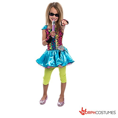 Girls Rainbow Pop Star 1980's Pop star Costume Small 4 - 6 Years