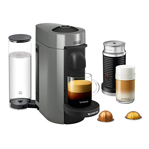 Nespresso VertuoPlus Coffee and Espresso Maker by De'Longhi with Aeroccino, Grey (Certified Refurbished)