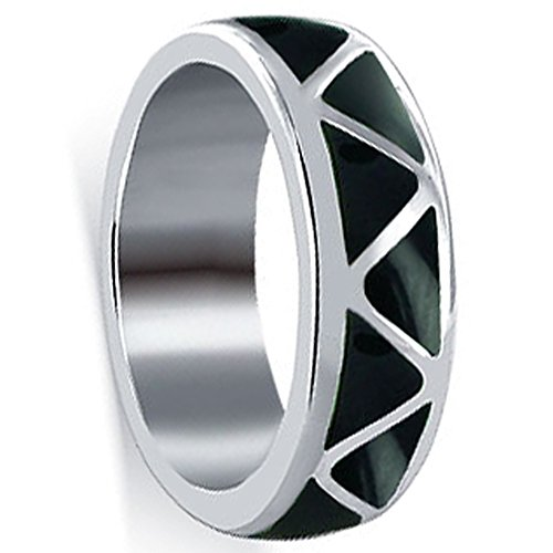 925 Sterling Silver Simulated Black Onyx Inlay Band Size 14 Southwestern Style