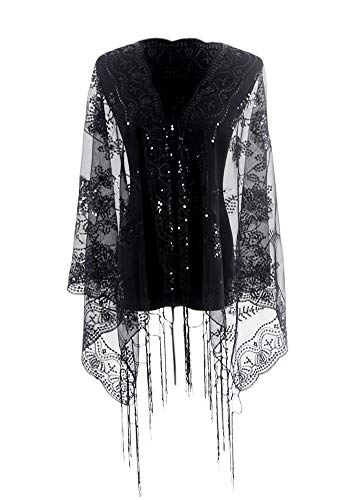 MissShorthair Women's 1920s Scarf Mesh Sequin Wedding Cape Evening Shawl Wrap (One Size, 3 Black) -