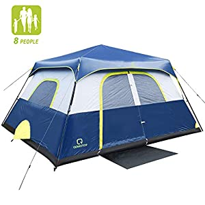 QOMOTOP Camping Tents, 4/6/8/10 Person Instant Set Up Within 1 Minute Tent Equipped with Rainfly and Carry Bag, Water-Proof Pop up Tent with Electric Cord Acess