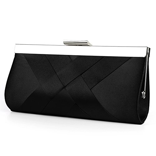 Black Satin Clutch (Bidear Satin Evening Bag Clutch, Party Purse, Wedding Handbag with Chain Strap for Women Girl (Black))