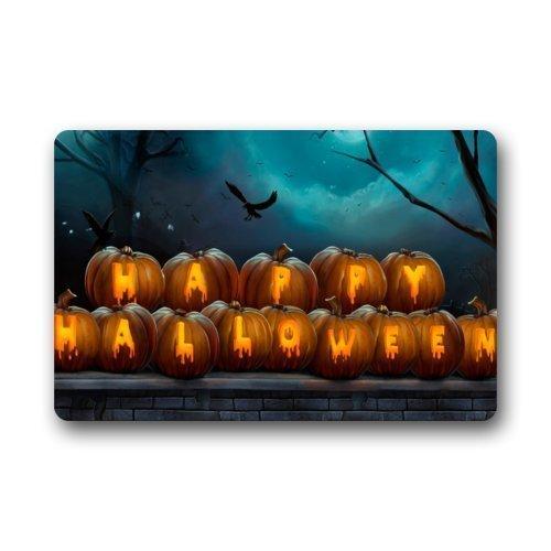 Home&Apron Door Mat Happy Halloween Jack-O-Lantern Night Art