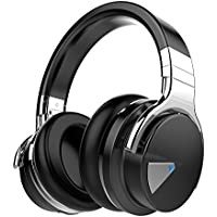 COWIN E7 Active Noise Cancelling Bluetooth Headphones with Microphone Hi-Fi Deep Bass Wireless Headphones Over Ear, Comfortable Protein Earpads, 30 Hours Playtime for Travel Work TV Computer - Black