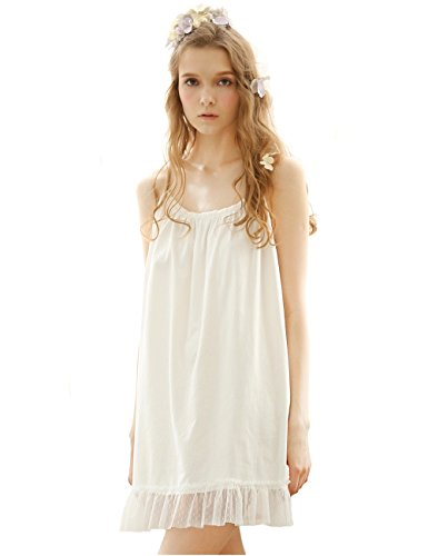 Women Sexy Cotton Sleepwear Lace Neck Chemise, Victorian Sleeveless Nightgown
