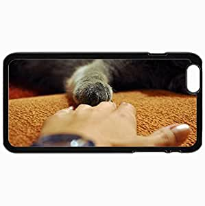Personalized Protective Hardshell Back Hardcover For iPhone 6 Plus, Hand Paw Gray Cat Touch Design In Black Case Color Avai Unique diy case
