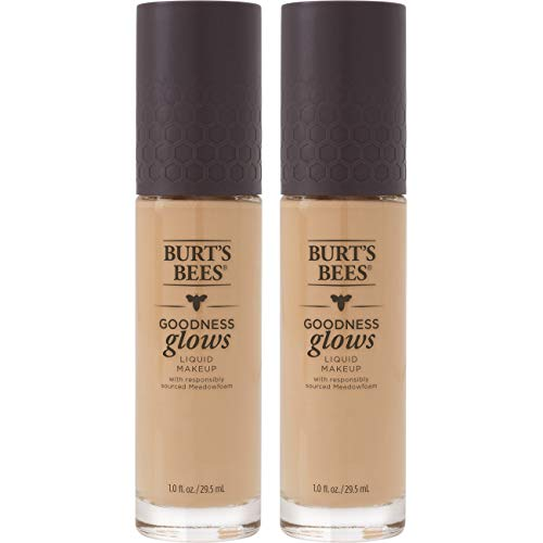 Burt's Bees Goodness Glows Liquid Makeup, Natural Beige - 1.0 Ounce (Pack of 2)