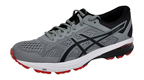 ASICS Men's GT-1000 6 Running Shoes, Stone Grey/Black/Red, 8.5 D(M) US