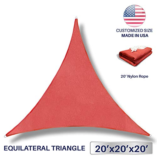 Windscreen4less 20 x 20 x 20 Sun Shade Sail Canopy in Rust Red with Commercial Grade 3 Year Warranty Customized
