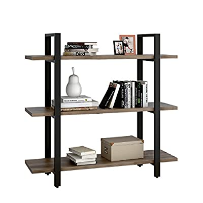 WLIVE 3-Tier Shelves and Bookcase in Rustic Industrial Style, Free Standing Storage Shelf Units (3-Tier) - 【Modern Rustic Industrial Style】This shelf fits perfectly various places, home, office, living room, bedroom, study or bathroom. 【Mutilfunctional Storage Unit】 This bookcase providing storage or display for books, magazines, picture frames and other decorative accoutrements for your living space 【Stablity, Lightness and Safe】Constructed with a solid steel tube and honeycomb board with a package of cable ties to fasten the shelf to the wall for additional security - living-room-furniture, living-room, bookcases-bookshelves - 41kADP6Q6pL. SS400  -