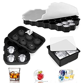 Ice Cube Trays, 3 Pack Silicone Large Round Sphere Square Honeycomb Makers Ice Cube Molds with Lids for Chilled Drinks, Whiskey & Cocktails, Reusable and BPA Free