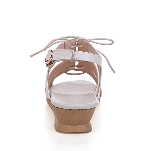 AgooLar Women's Lace Up Open Toe Low Heels PU Solid Sandals White 5fUNDL34