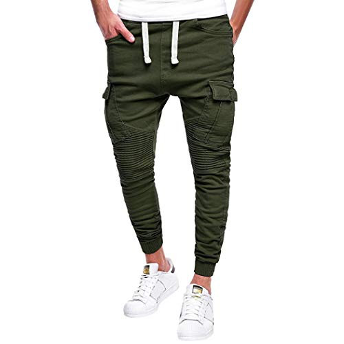 (Pervobs Mens Pants, Clearance! Men's Casual Sport Joint Lashing Belts Loose Outdoors Work Drawstring Pant Trousers (M, Army Green))