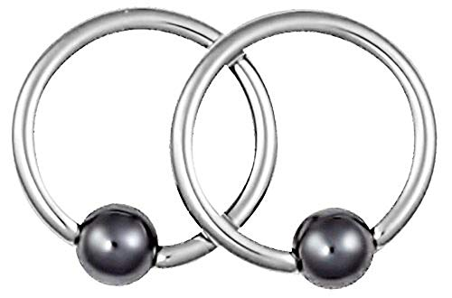 Forbidden Body Jewelry Pair of 2 Rings: 18g 5/16 Inch Surgical Steel Hematite Balls CBR Hoop - Earrings Ball Hematite