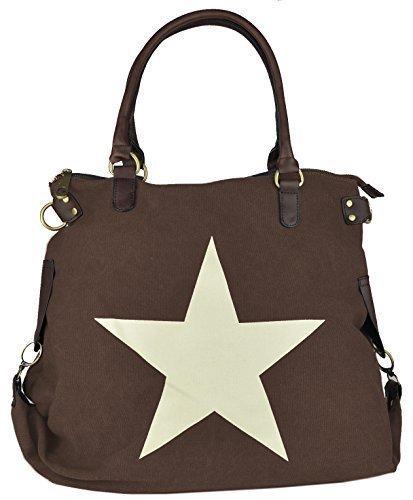 Bags4Less XL Tela Borsa donna Borsa con manici con pelle Stella / Printstern / Pelle scamosciata F3151 - Bianco Stella Marrone, XL