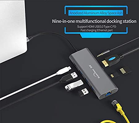 FANZHOU Type C Laptop Docking Station USB C Hub 3.0 HDMI TF LAN PD Compatible for MacBook,Other USBC Laptop